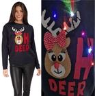 Granatowy sweter świąteczny z lampkami - świecący (1)