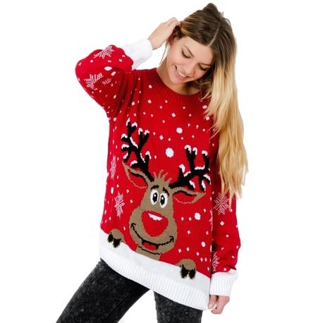 Czerwony Sweter świąteczny z reniferem (1)